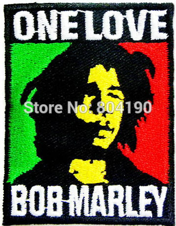 Bob Marley One Love Music Band Embroidered LOGO Iron On Patch Emo Goth Punk Rockabilly Customized