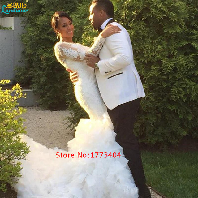 African Style Nigerian Ruffle Wedding Dresses Long Sleeves Lace ...