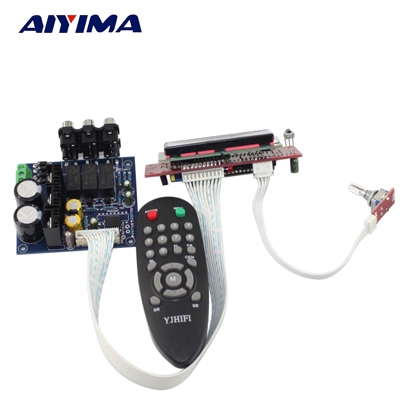Aiyima PGA2311 Audio Volume Stereo Pre-amplifier Preamp Board with Remote Control LCD Display интегральная микросхема hifi remote volume control preamp
