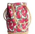 Fresh Fruit Watermelon Printing Tote Women Bucket Bag Canvas Shoulder Bag Straw Beach Bag Woven Hand bags bolsa feminina