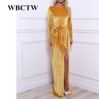 Women Spring Dresses Velvet Warm Dress Large Size Dress Ankle Length Maxi Casual Dress