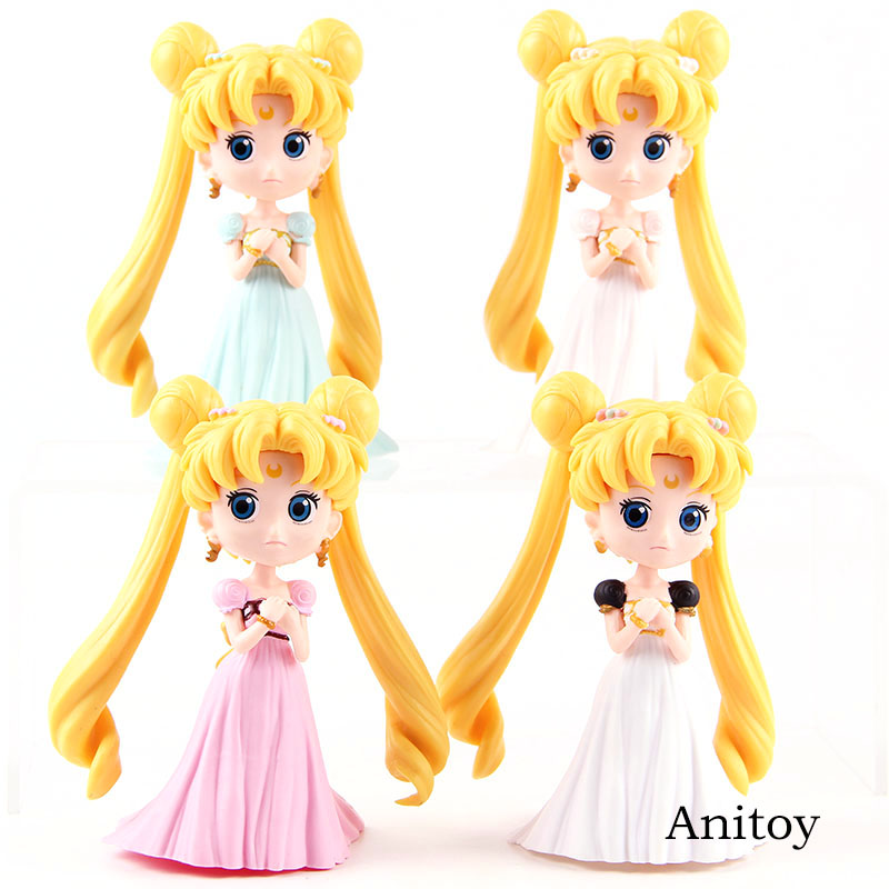 Q Posket Sailor Moon Princess Serenity Tsukino Usagi Figure PVC Action Figures Collectible Model Girls Toys Dolls 4pcs/set