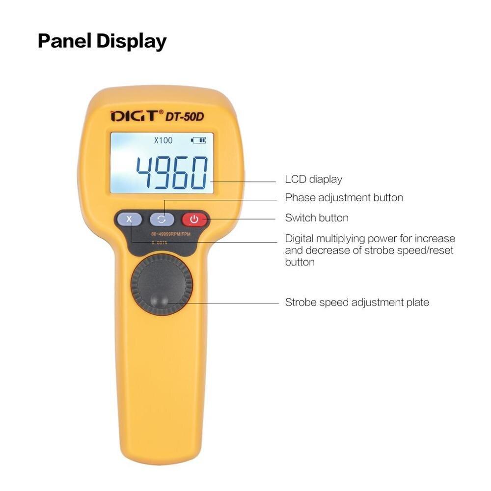 DIGT DT-50D 7.4V 1100mAh 60-49999 Strobes/min 750LUX Handhold LED Stroboscope Rotational Speed Measurement Flash VelocimeterDIGT DT-50D 7.4V 1100mAh 60-49999 Strobes/min 750LUX Handhold LED Stroboscope Rotational Speed Measurement Flash Velocimeter