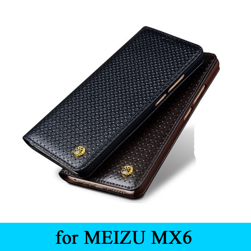 New Arrival Luxury Genuine Leather Flip Case Protective Cover Phone Leather Bag Skin for MEIZU MX6