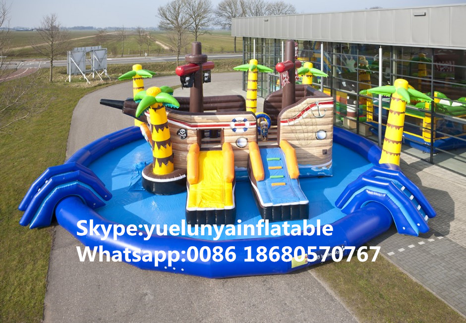 Factory direct inflatable castle slides Pool slide, large water park Large pool Large pirate ship pool KY-719