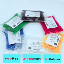 600Pcs  3*100mm Colorful Nylon Cable Ties width 2.5mm Factory Standard Self-locking Plastic