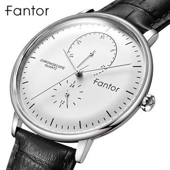 Fantor  Brand Business Men Leather Wrist Luxury Man Chronograph Casual Classic Quartz Watches - discount item  71% OFF Men's Watches