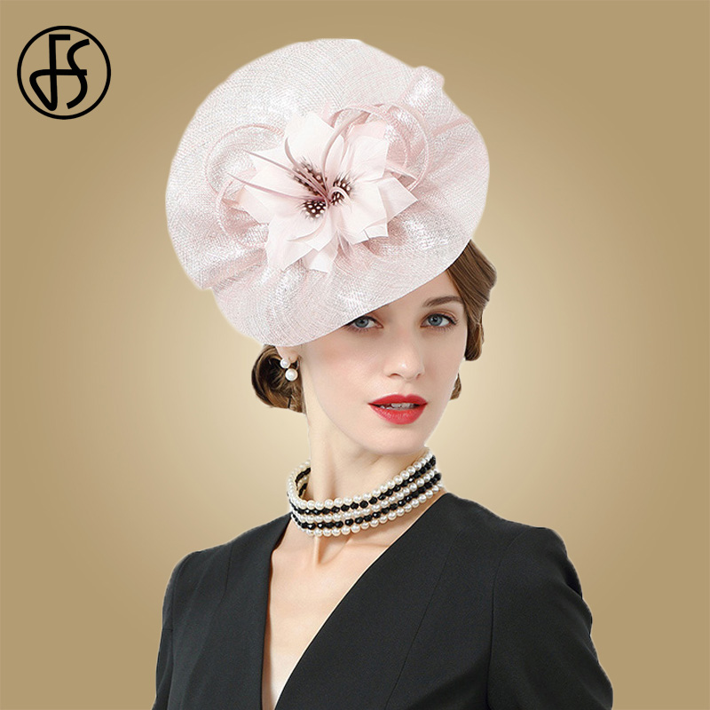FS British Royal Wedding Hats For Women Fascinators Pink 100% Sinamay Hat  With Flower Pillbox Cap Elegant Derby Cocktail Fedora 47637b96294