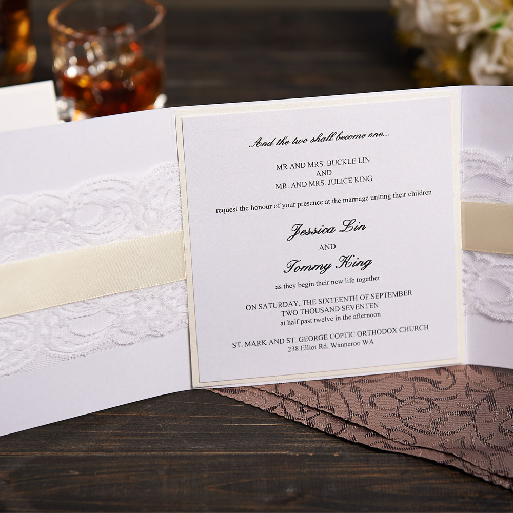 Elegant Lace Wedding Invitations With Rsvp And Envelope Customized