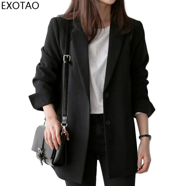 Kobeinc Fashion Black Long Blazer For Women Spring Autumn 2017 New Long Sleeves Slim-Fit Causal Business Suit Jacket Plus Size
