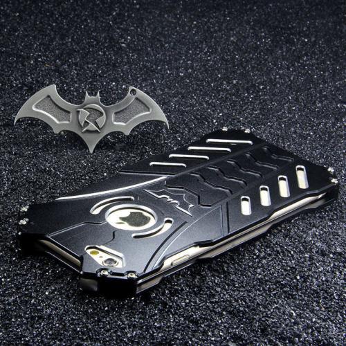 imágenes para R-JUST Gran Cantidad de Polvo de Aluminio del Metal Cubierta de la Caja Armor Batman Para el iphone 7 Plus 7 + Holder Negro
