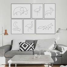 Black White Minimalist Modern Abstract Line Animals Fox Deer Canvas  Poster Nordic Wall Art Home Decor Painting No Frame