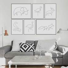 Black White Minimalist Modern Abstract Line Animals Fox Deer Canvas Poster Nordic Wall Art Home Decor Painting No Frame(China)