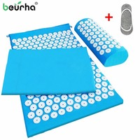 1 Set Acupressure Massager Mat Relieve Stress Pain Yoga Mat Natural Relief Stress Body Massage Pillow Cushion With Bag and Socks