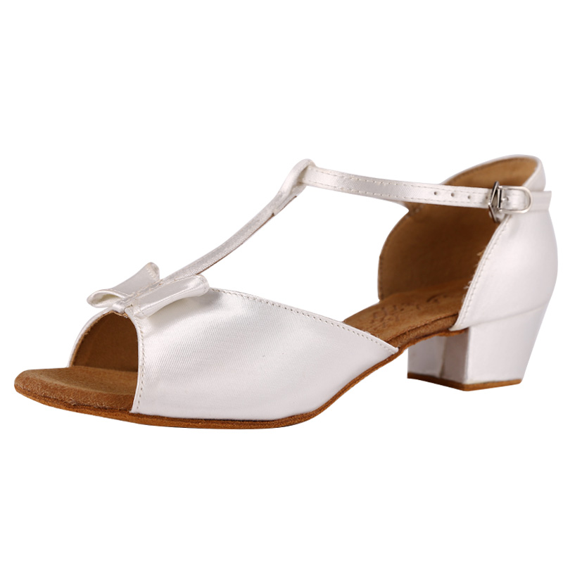 New Girl Latin Dance Shoes BD 617 White Satin Color  Low Heel Ballroom Dance Shoes Child Sandal Dancing Shoes Sneaker Shoes