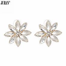 6e645d6dda0b Juran especial diseño brillante cristal blanco Pendientes de broche para  las mujeres diamante aretes brincos moda joyería regalo