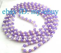 Wholesale price FREE SHIPPING ^^^^ 80 Round White Freshwater Pearl Lavender Jade Necklace