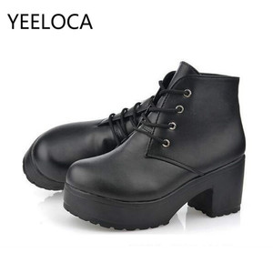 Image 5 - YEELOCA 2019 Womens Single Boots New Horse Boots Square Heel Round Toe Spring High Heel Boots Lace Up Plus Size 35 45