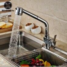 Роскошные 2-Функция воды на выходе кухня смеситель кран Палуба Гора одной ручкой краны горячей и холодной воды