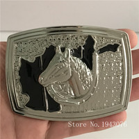 Retail Latest Styles 3D Silver Horse Head Cowboy Belt Buckle With Pewter Fashion Man Woman Jeans
