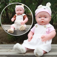 41CM Baby Kids Reborn Baby Doll Soft Vinyl Silicone Lifelike Sound Laugh Cry Newborn Baby Toy
