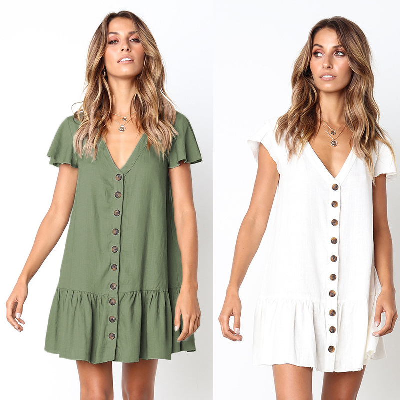 casual mini dress Summer V-neck Button Dress Women All products dresses style Mini Dress color: green|red|Sapphire|White