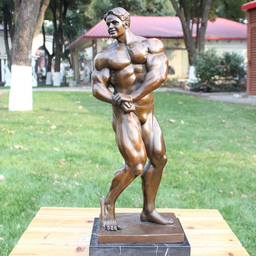 Statue en bronze de l'homme en bronze musculation club hôtel ameublement cadeau d'anniversaire décoration en cuivre