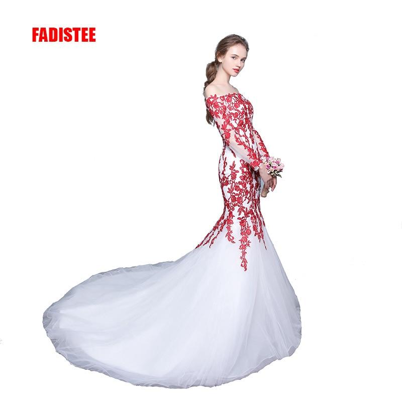 FADISTEE 新到着優雅なウェディングドレス Vestido デ · フェスタドレスロングスリーブアップリケロングスタイルのウェディングパーティートランペットガウン  グループ上の ウェディング & イベント からの ウェディングドレス の中 1