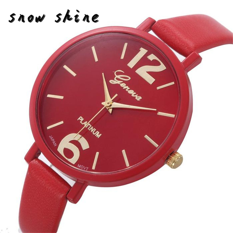 snowshine 30 Women Faux Leather Analog Quartz Wrist font b Watch b font free shipping