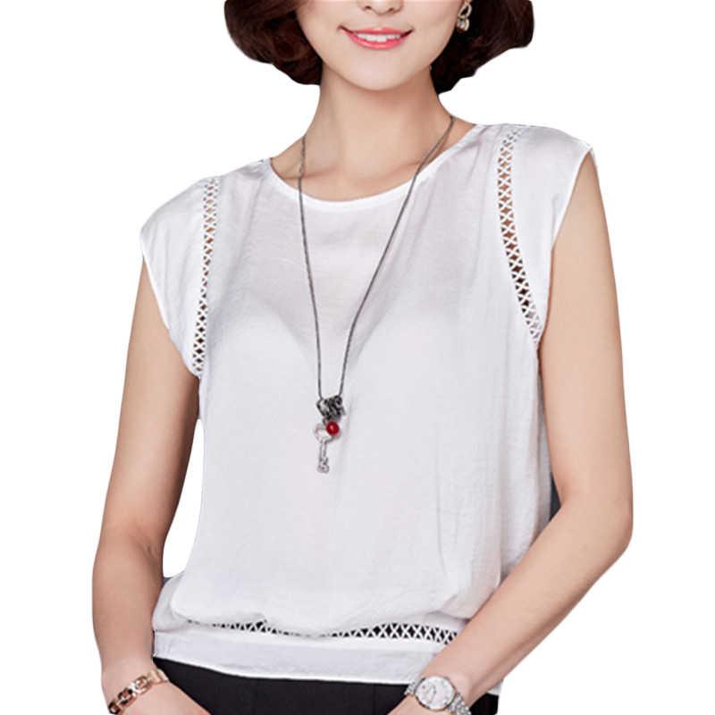 VogorSean レディース夏のトップスやブラウスシャツファッションノースリーブシフォンホワイト Blusas カジュアルオフィスレディ新女性