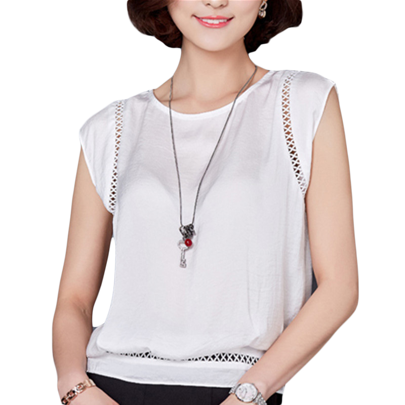 VogorSean Womens Summer Tops and   Blouses     Shirts   Fashion Sleeveless Chiffon White Blusas Casual For Office Lady New Women