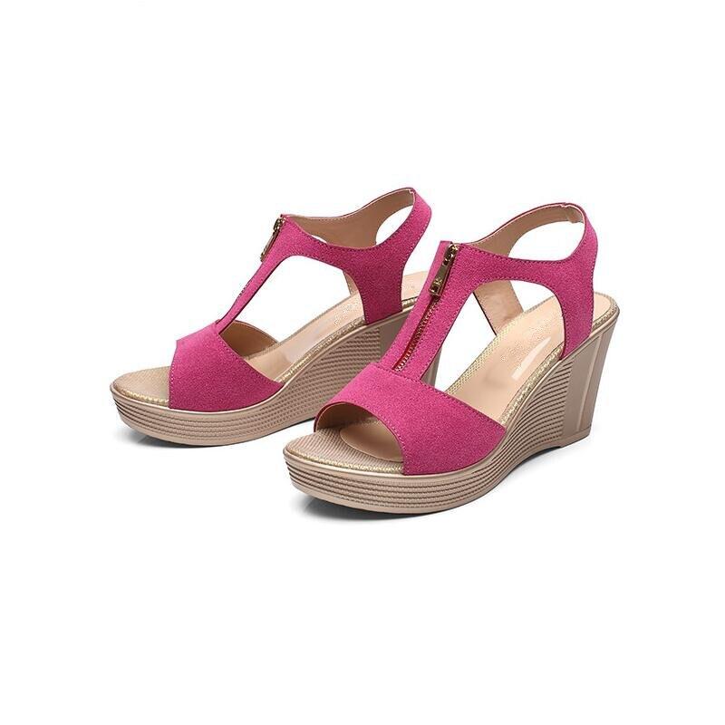 19d1b06dd3 Alishinrey Matte Kulit Sapi Wanita Sandal Sandal Wanita Kulit Asli Sepatu  Musim Panas Baru Wedge Sepatu Hak Tinggi Sandal Ukuran 35 43 di Wanita  Sandal dari ...