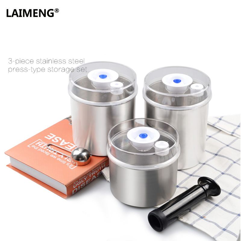 Laimeng Food Vacuum Container Sets For Vacuum Sealer Packaging Machine Fresh Keeping Stainless Canister 1300ml+1000ml+700ml S165