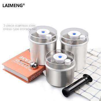 Laimeng comida contenedor vacío conjuntos para sellador de vacío máquina de embalaje fresco inoxidable frasco 1300 ML + 1000 ML + 700 ML S165