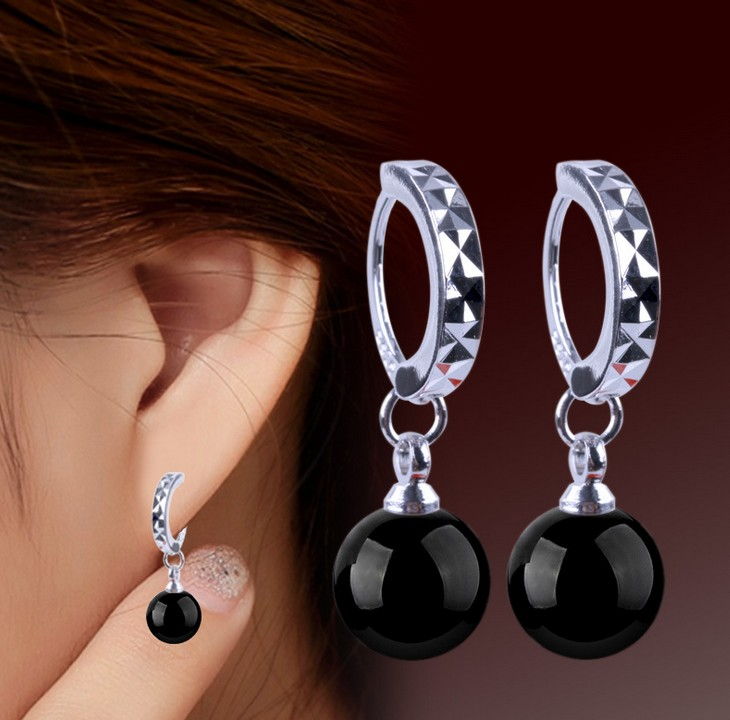 WOW 925 sliver AAA 8mm black Crystal Jewelry Moon River Rhinestone Earrings for earrings Silver (1pair) earring Ohrringe