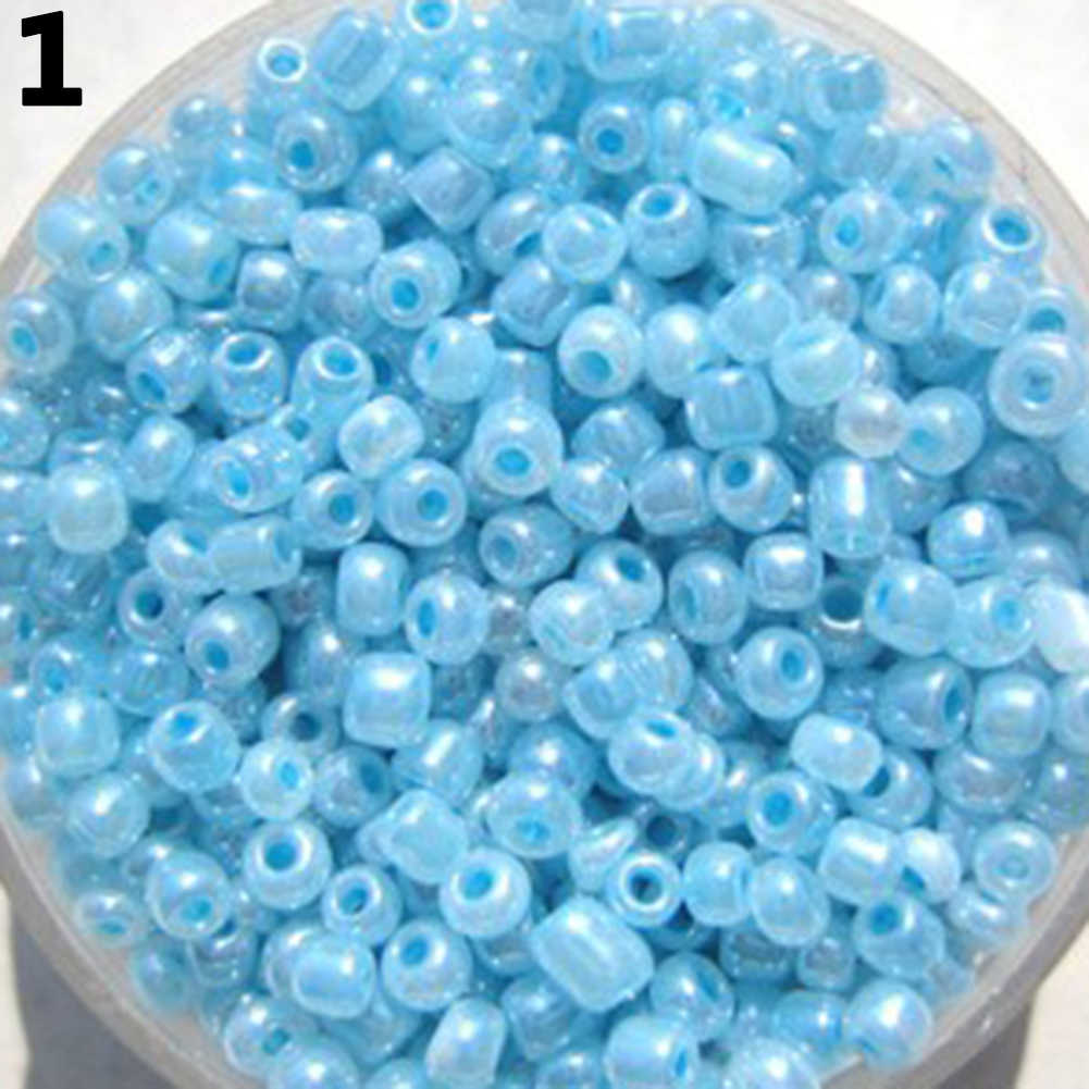 1200 Pcs 2mm Round Glass Loose Spacer Beads DIY Jewelry Finding Craft Making Kit