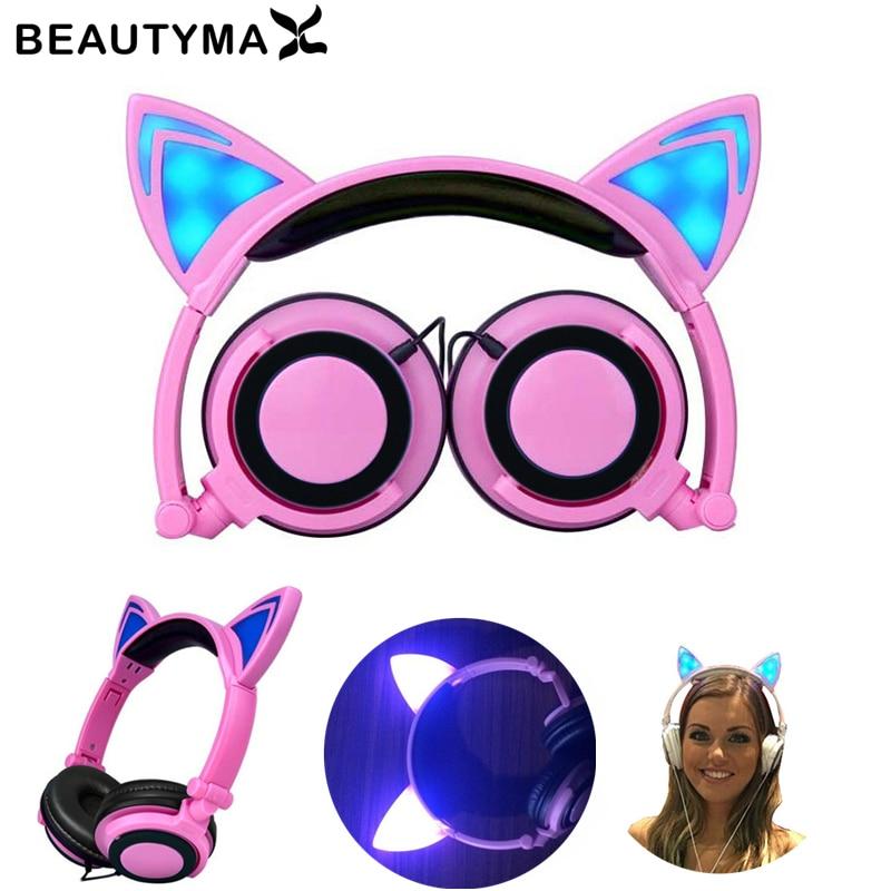 New Cat Ear headphones LED Flashing Glowing Headset cat earphone fone de ouvido gato Gaming Earphones for Samsung for Iphone PC