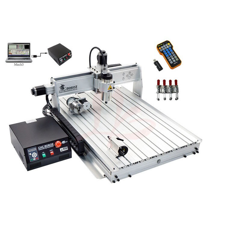 CNC engraving and milling machine 8060Z-USB 4axis 2.2 kw with mach3 remote control CNC Router , PCB/ stone cutting machine no tax to eu 2 2kw 8060 cnc machine 3axis metal engraving router 4000mm min with usb port and mach3 remote control