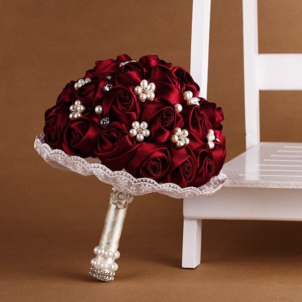 Weinrot Hochzeit Bouquet Brautjungfern Blumen Künstliche Seide Rose Blau Gelb Farbe Braut Zubehör-in Künstliche & getrockneten Blumen aus Heim und Garten bei  Gruppe 1