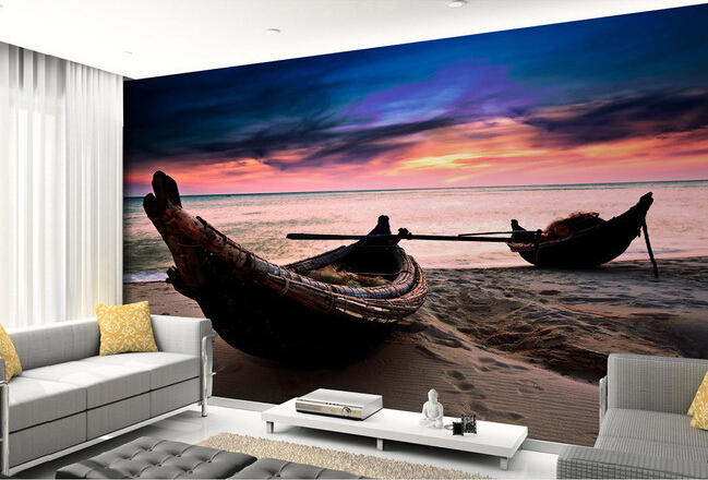 Custom 3D photo wallpaper, sunrise on the beach of the boat mural for the living room bedroom TV background wall wallpaper custom photo wallpaper 3d stereoscopic cave seascape sunrise tv background modern mural wallpaper living room bedroom wall art
