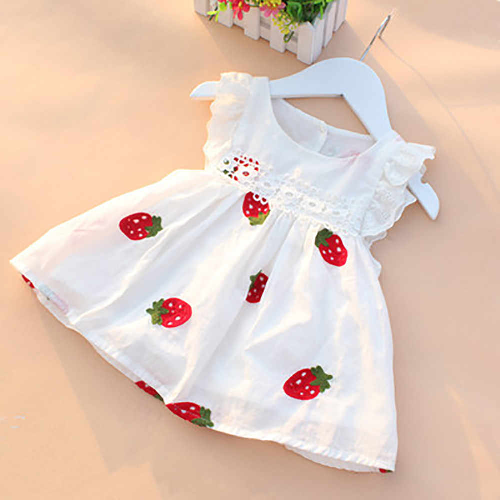 Summer Baby Girls Dresses Floral Strawberry Embroidery Sleeveless Kids Clothing Cotton Print Floral Lace Infant Girl Dresses