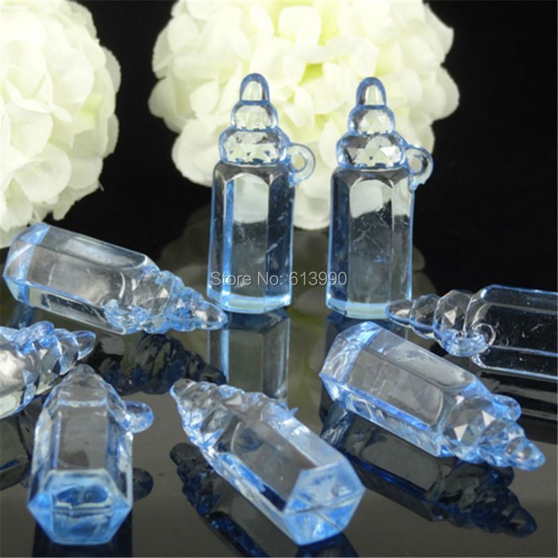 50Pcs Small Plastic Clear Bottle Baby Bottle Baby Shower Baptism For Table Game Party Cake Decorations 11 x 36mm