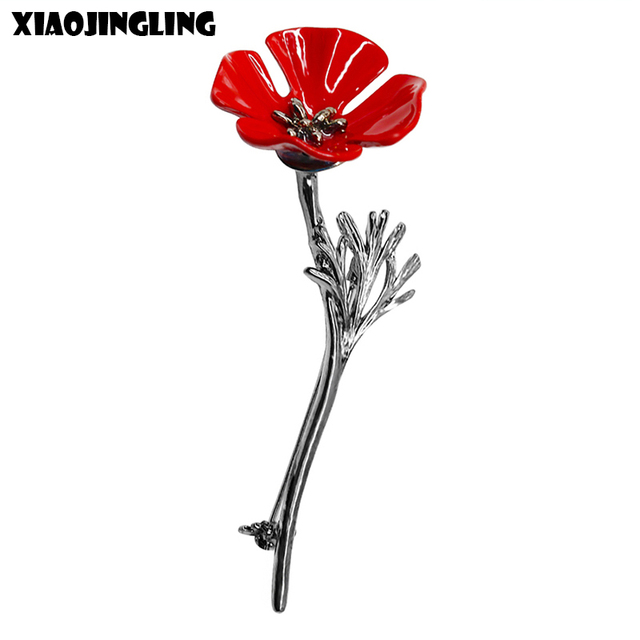 XIAOJINGLING Elegant Vintage Red Poppy Flower Brooches Fashion Men Women Suit Jewelry Accessories Brooch Pin Anniversary Gifts