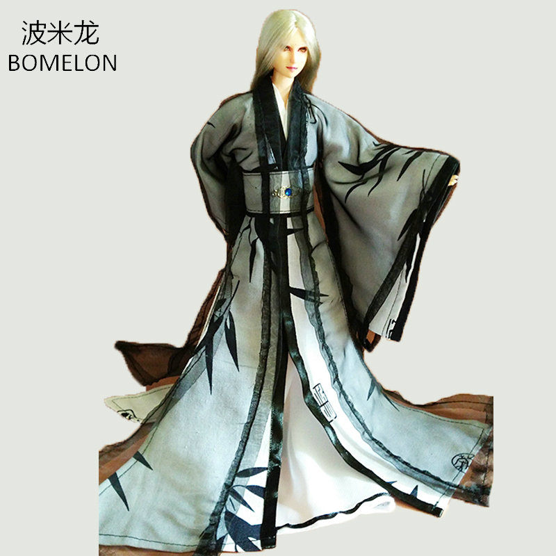 Pure Handmade Chinse Ancient Costume Men Doll Clothes Black for Obitsu ob27 BJD 1/6 or Ken doll Boys Toys Gift Dolls Accessories tang dynasty shangguan wan er 12jointed doll 31cm high end handmade chinese costume dolls limited collection bjd 1 6 moveable