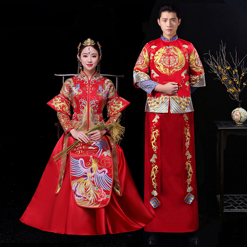 Red Chinese Wedding Bride Cheongsam Traditional Style marry Evening Dress Embroidery Long Qipao Womens and Mens