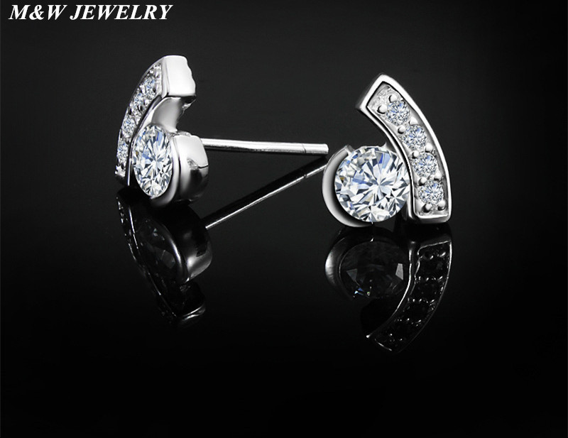 M&W JEWELRY 925 Sterling Silver Stud Earrings Zircon Earrings for Women Accessories Hot Sale Fashion Earrings Jewelry