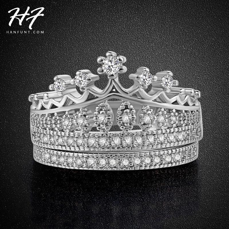 princess crown aaa cubic cubic zirconia wedding ring