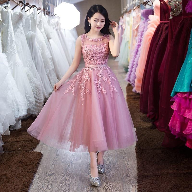 Rosa Formal de Apliques de Encaje de Tul Largo Vestidos de Noche ...