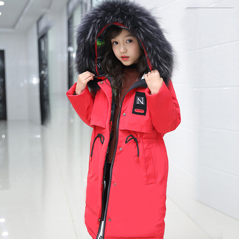 все цены на Children down jacket girls long casual kids clothing thickening outerwear big child winter coat 2018 for teen 6 8 10 12 14 year