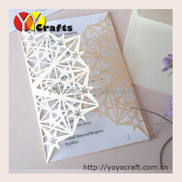Bulk Laser Cut Cheap Kids Birthday Invitation Card Ivory Star Design Wedding